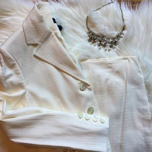 Ann Taylor Cream Blazer and Skirt Suit Set